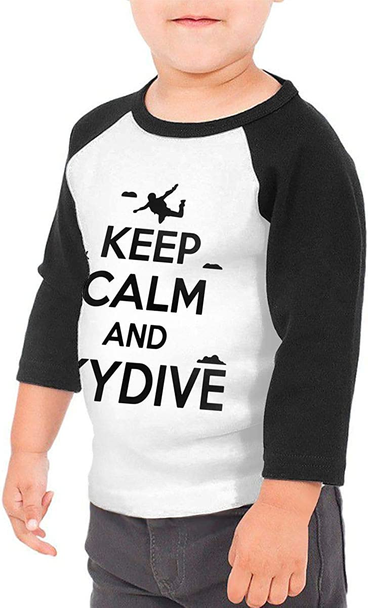 QPKMRTZTX0 Boys Girls Kids /& Toddler Keep Calm and Skydive Long Sleeve Tees 100/% Cotton
