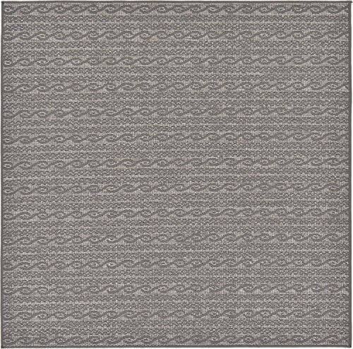 Unique Loom Outdoor Modern Collection Striped Casual Transitional Indoor and Outdoor Flatweave Gray  Square Rug (6' x 6') (Gray Rug Square)