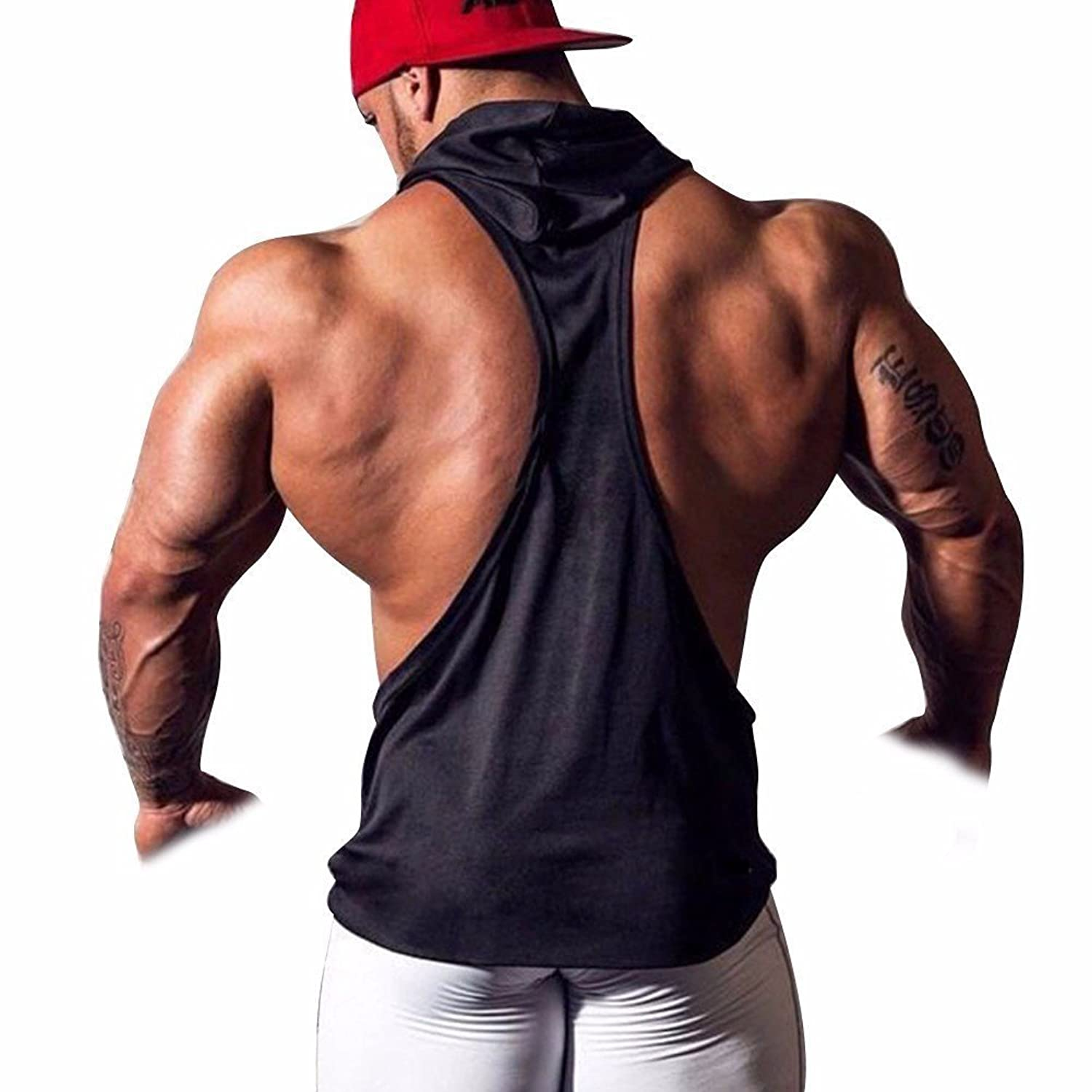 FEESHOW Mens Hooded Gym Tank Top Stringer Bodybuilding Vest Workout ...