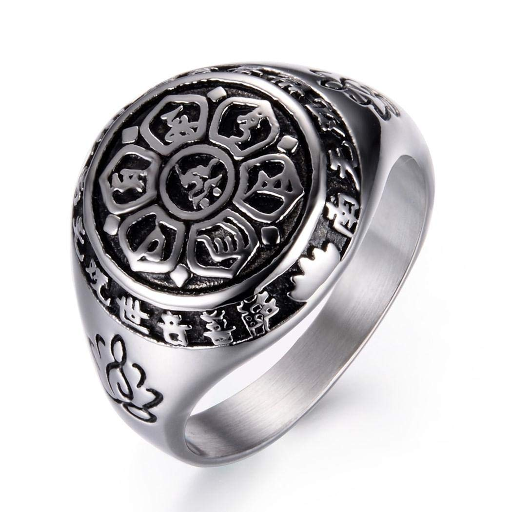 Stainless Steel Ring Six Words Budda Mantra on White JEWURA Religious Ring