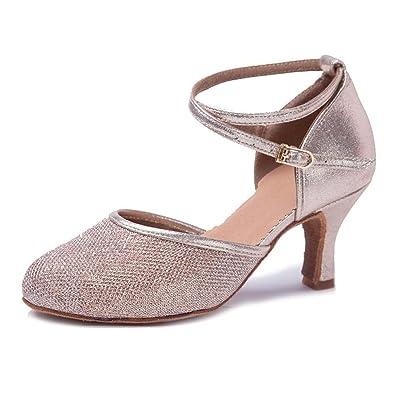 YFF Girl's Women's Ballroom Tango Salsa Latin Dance Schuhe, ROT, 7 cm, 6.