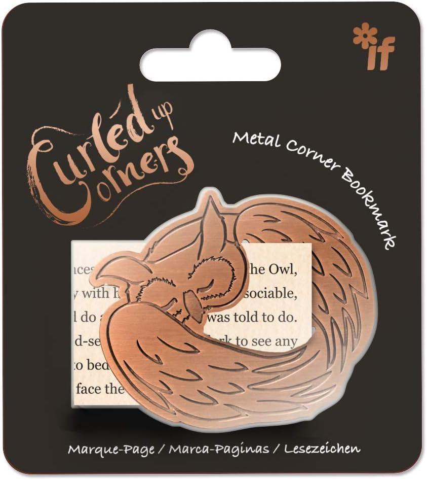 IF Curled Up Corner Metal Animal Bookmark - Sleepy Owl