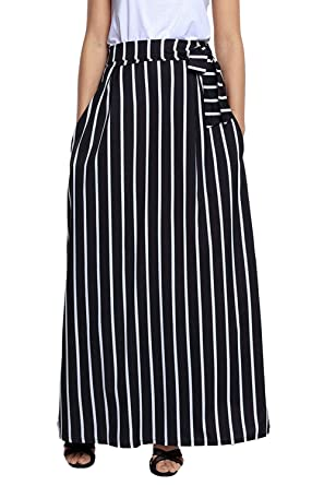 98278a246a HOTAPEI Women's Summer Black and White Striped High Waisted Maxi Skirts  with Pocket Small
