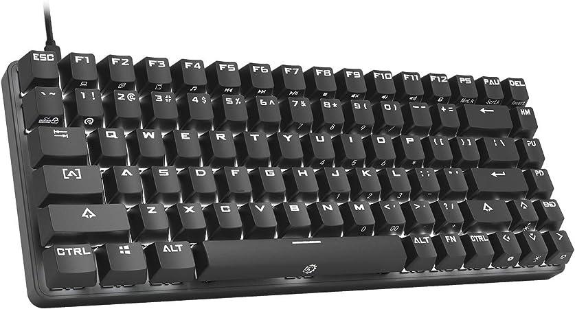 DREVO Excalibur 84 Teclas Mecánico Teclados para Gamers Completo de Metal con LED Blanco Iluminado QWERTY TKL Keyboard (Outemu Switch Brown,Negro)
