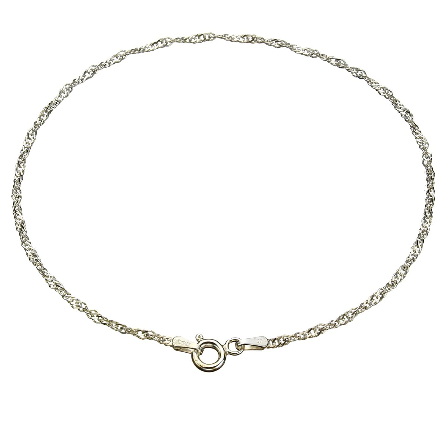 Sterling Silver Singapore Nickel Free Chain Anklet Italy 10