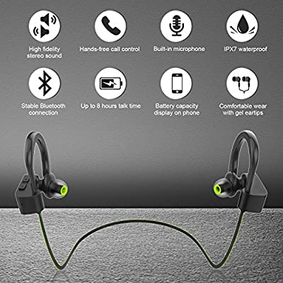 LETSCOM Bluetooth Headphones V5.0 IPX7 Waterproof, Wireless Sport Earphones, HiFi Bass Stereo Sweatproof Earbuds W/Mic…