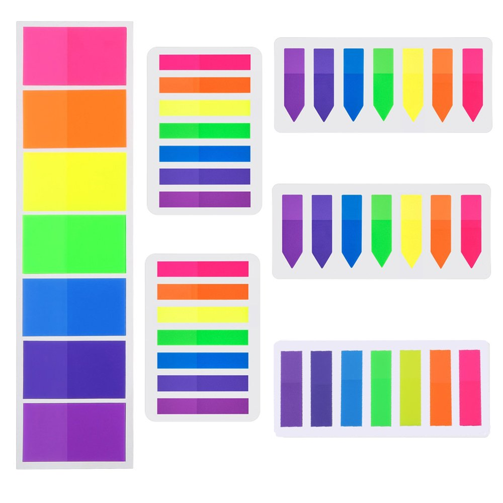 HOONAO 840 Pieces Flags Index Tabs Highlighter Strips 6 Sets Fluorescent Sticky Notes Writable Labels for Page Markers,7 Colors BLCO