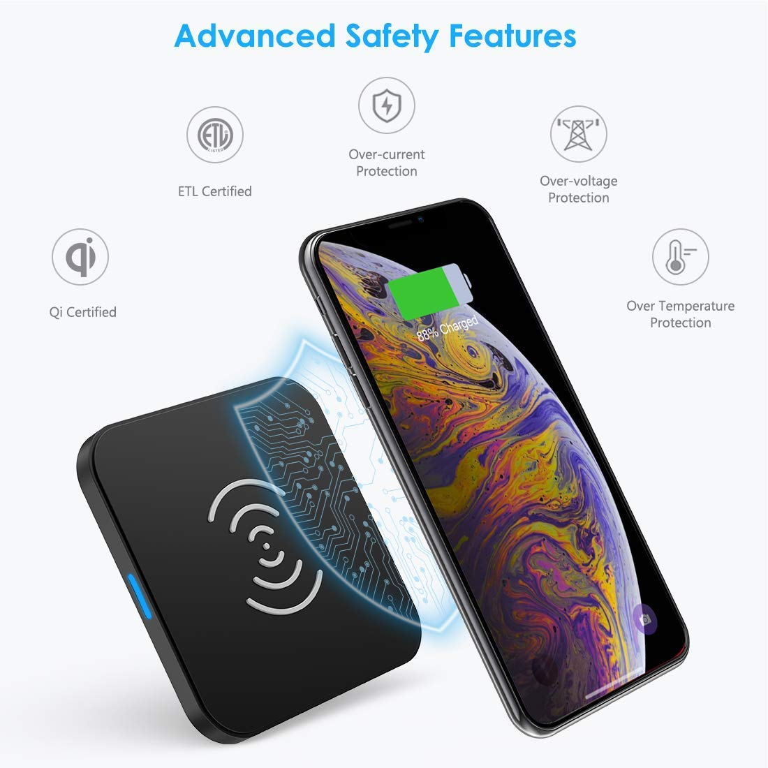 CHOETECH Wireless Charger, Qi Certified Wireless Charging Pad Compatible with iPhone Xs Max/XS/XR/X/8/8 Plus, Samsung Galaxy S10/S10+/S10E/Note 9/S9/S9+/Note 8/S8/S7, New AirPods and More by CHOETECH (Image #5)