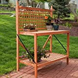 Outdoor Potting Bench, Wood Foldable, Slatted Work Surface