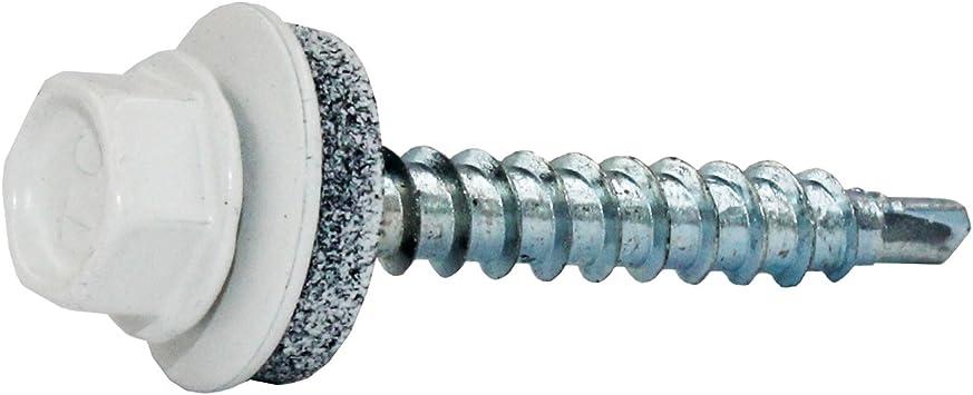 Farbe Reinwei/ß Material verzinkt Trapezblechschrauben 4,8 x 20 mm E14 Holzschrauben Wellblechschrauben Pfannenblechschrauben