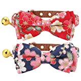 KOOLTAIL 2 Pack Cat Collars with Bell, Cute Bowtie Puppy Collars for Small Dogs 8''- 10''