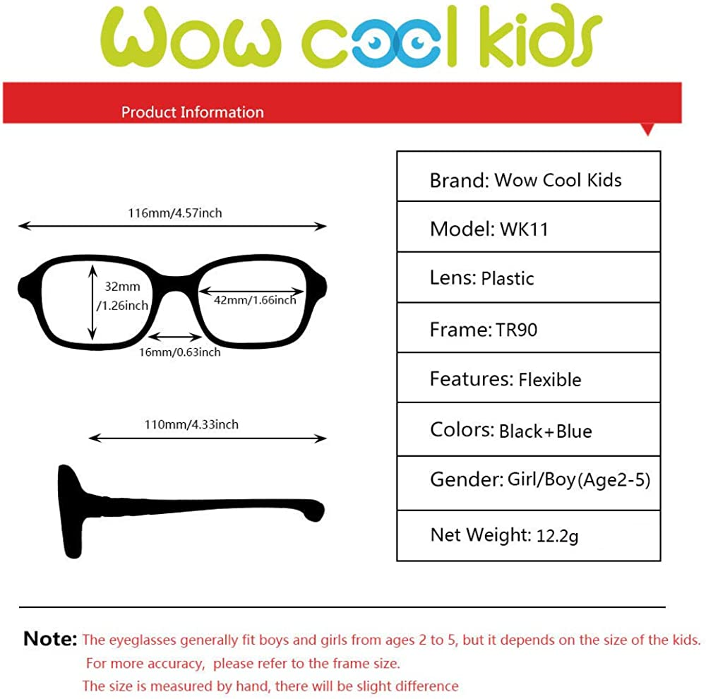 Age 5-12 Kids Glasses Eyewear Frame with Square Clear Lense Adjustable Flexible for teen Boys Girls