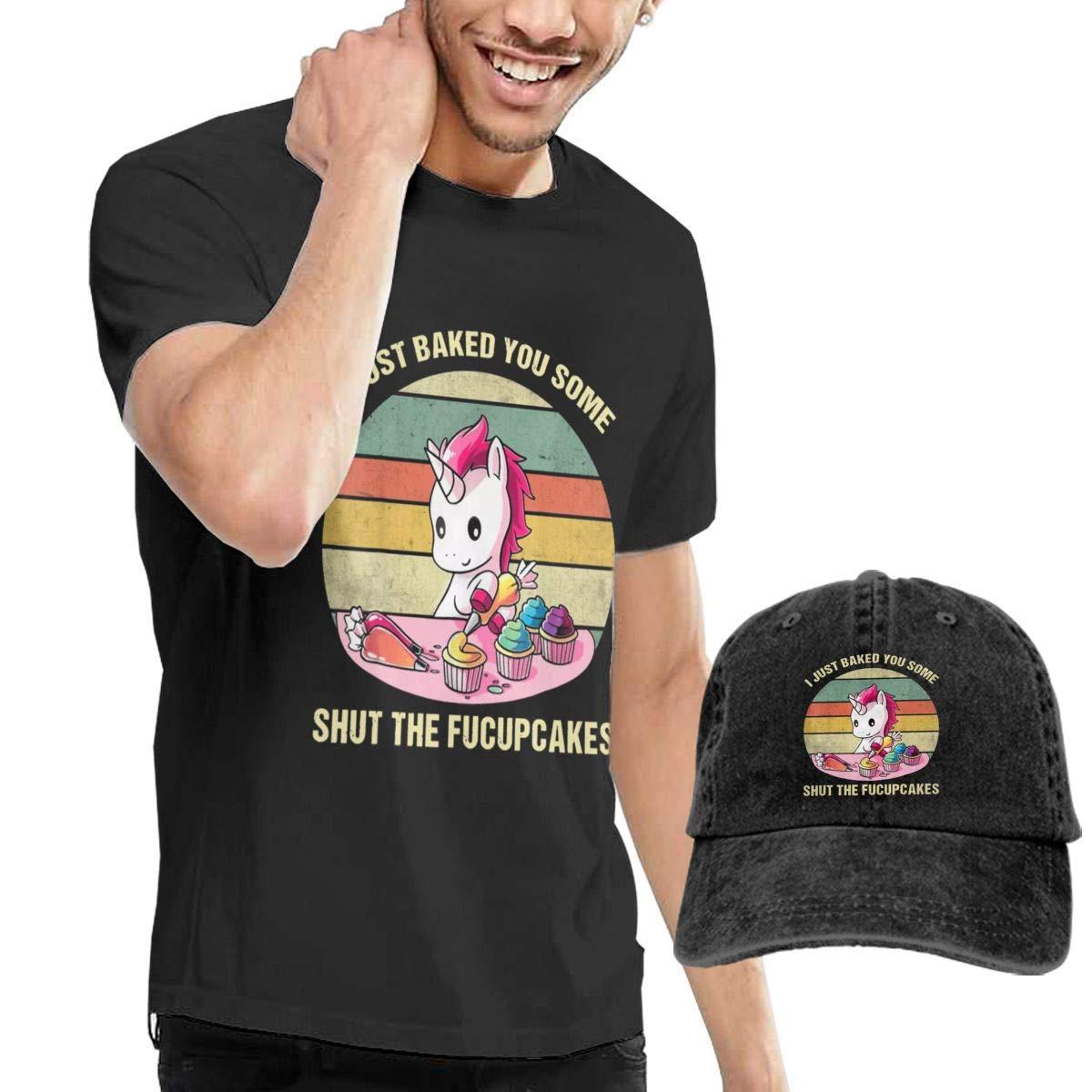 QQWBB I Just Baked You Some Shut The Fucupcakes T-Shirts Short Sleeve Denim Hat Men