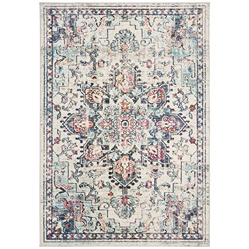 Safavieh MAD473B-4 Madison Collection MAD473B Cream and Blue Area (4' x 6') Rug,