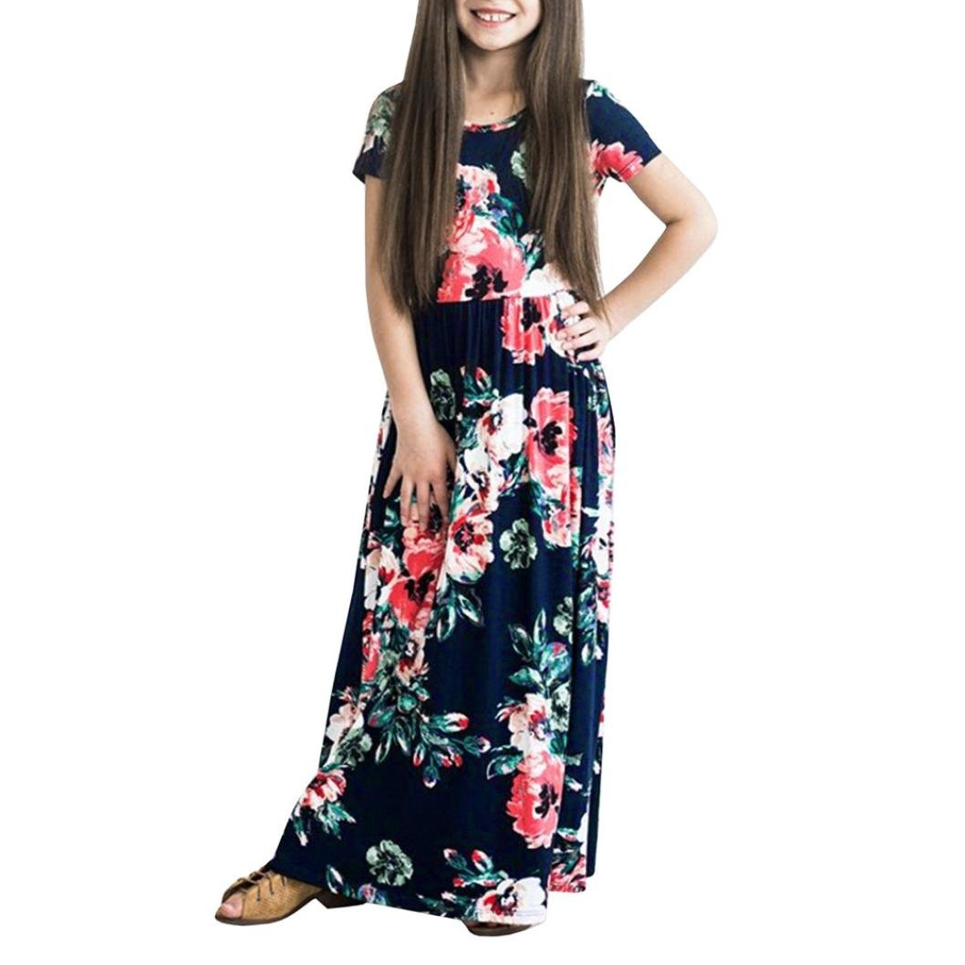 3f177fb4dc Amazon.com  TiTCool Girl s Summer Short Sleeve Floral Printed Empire Waist Long  Maxi Dress with Pockets Size 2-10Y  Clothing