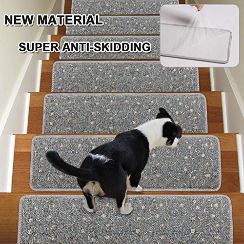 - Stair Treads Non-Slip Carpet Indoor Set of 13 Grey Carpet Stair Tread Treads Stair Rugs Mats with Self Adhesive Skid Resistant Rubber Backing (30 x 8 inch),(Grey, Set of 13)
