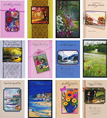 12 Mature Mixed Birthday Cards Mix of Male & Female (Masculine Birthday Card)