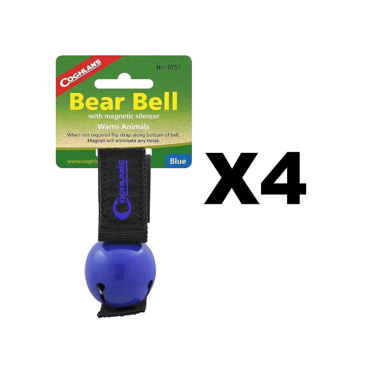 Coghlan's Bear Bell Blue w/Magnetic Silencer & Loop Strap Warns Animals (4-Pack) coghlans