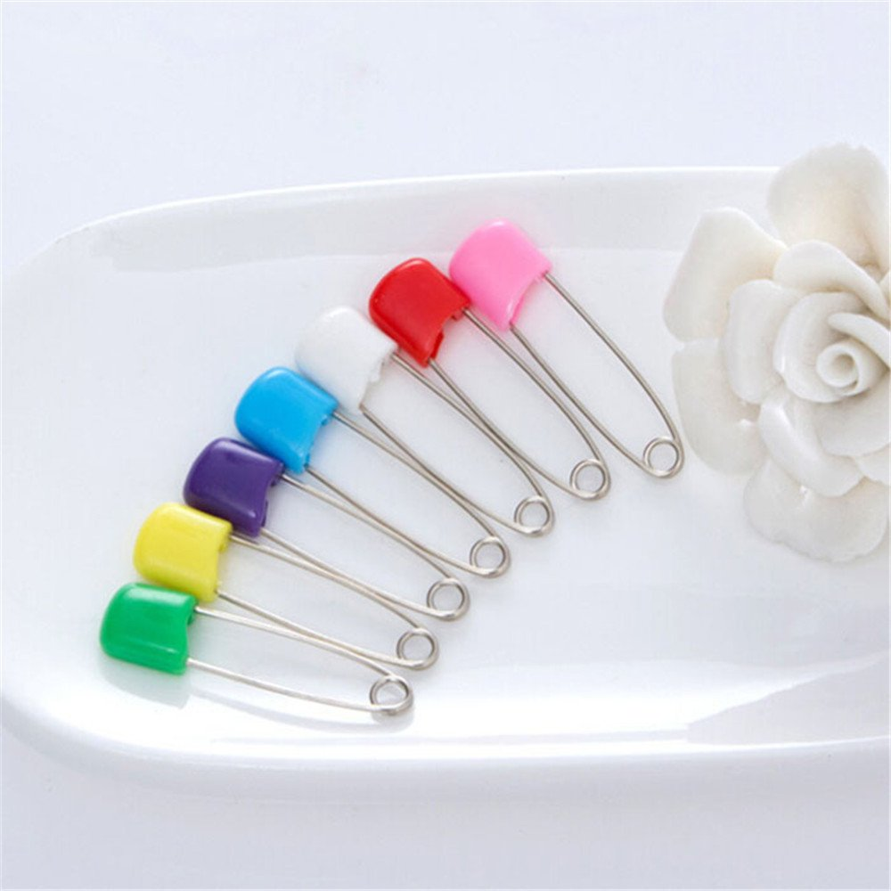 10Pcs Baby Safety Pin Stainless Steel Cloth Bib Diaper Handkerchief Random Color huayangca
