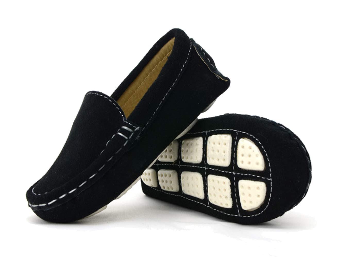 WUIWUIYU Boys' Girls' Suede Slip-On Loafers Flats Moccasins Comfort Casual Shoes Black Size 7 M by WUIWUIYU (Image #4)