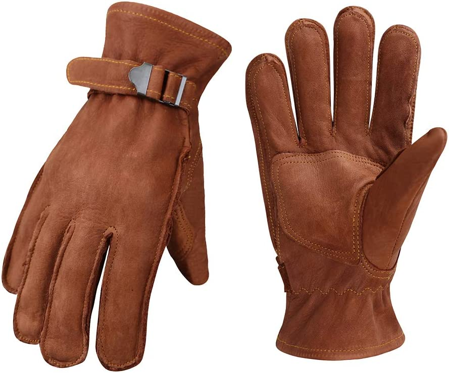 OLSON DEEPAK Leather Motorcycle Gloves Vintage Leather Riding Gloves Strap /& Buckle Driving Gloves Perfect for Mens//Women