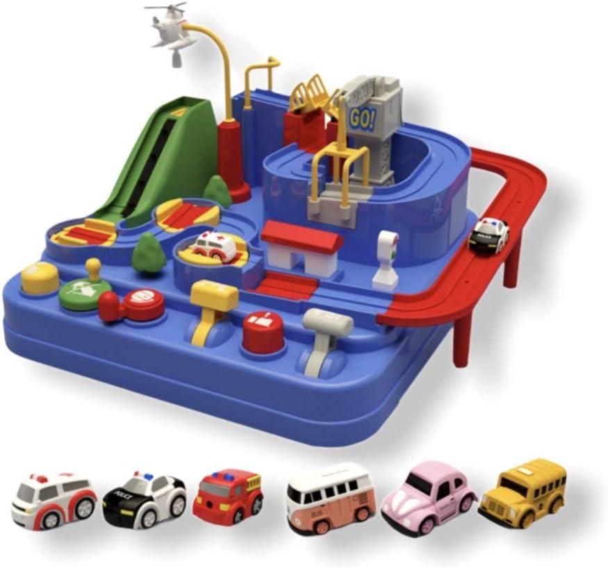 FunLearning Pistas de carreras para niños Car Adventure Toys Niños Niñas Rescate Ciudad Inteligencia Preescolar Aprendizaje Juguete Educativo Vehículo Puzzle Car Track Playsets Regalo Niños