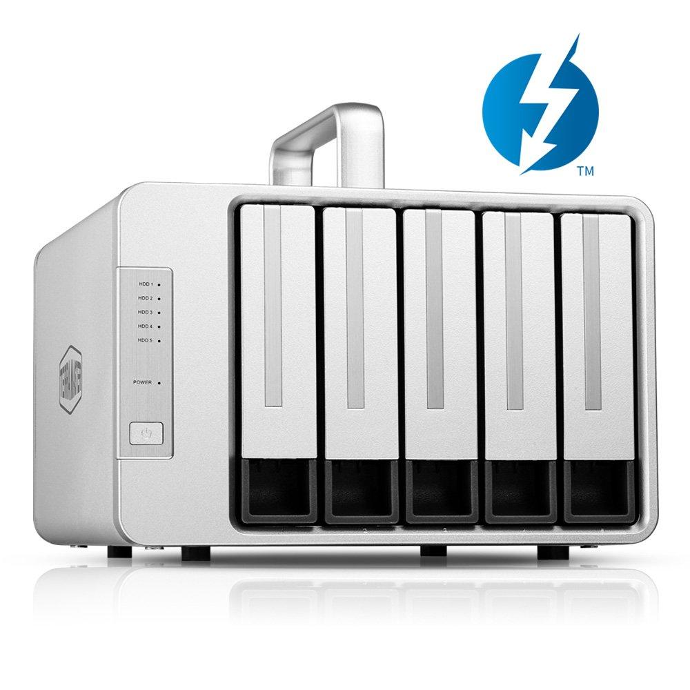 TerraMaster D5 Thunderbolt3 and USB Type C 5-Bay External Hard Drive Enclosure Supports RAID5 Hard Disk RAID Storage (Diskless)