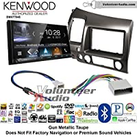 Volunteer Audio Kenwood DMX7704S Double Din Radio Install Kit with Apple CarPlay Android Auto Bluetooth Fits 2006-2011 Honda Civic (Earth Taupe Brown)
