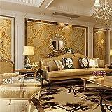 QIHANG European Style Luxury 3D Damask Pearl Powder Non-woven Wallpaper Roll Gold Color 0.53m10m=5.3㎡