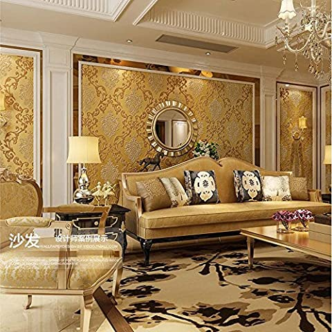 QIHANG European Style Luxury 3D Damask Pearl Powder Non-woven Wallpaper Roll Gold Color (Wallpaper Luxury)