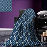 Quatrefoil throw blanket Ethnic Arabian Tessellation Theme Entwined Curved Motifs of Marrakesh Tile Art miracle blanket Blue White size:51''x31.5''