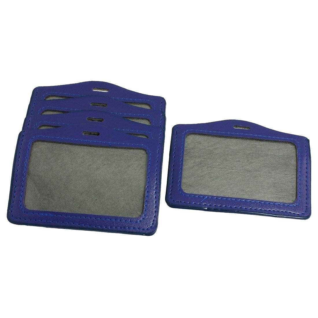 TOOGOO(R) 5 Pcs orizzontale in pelle sintetica con porta-Badge personale con nome, colore:blu