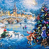 Rebuty 5D DIY Handmade Merry Christmas Night Embroidery Painting Rhinestone Room Decoration