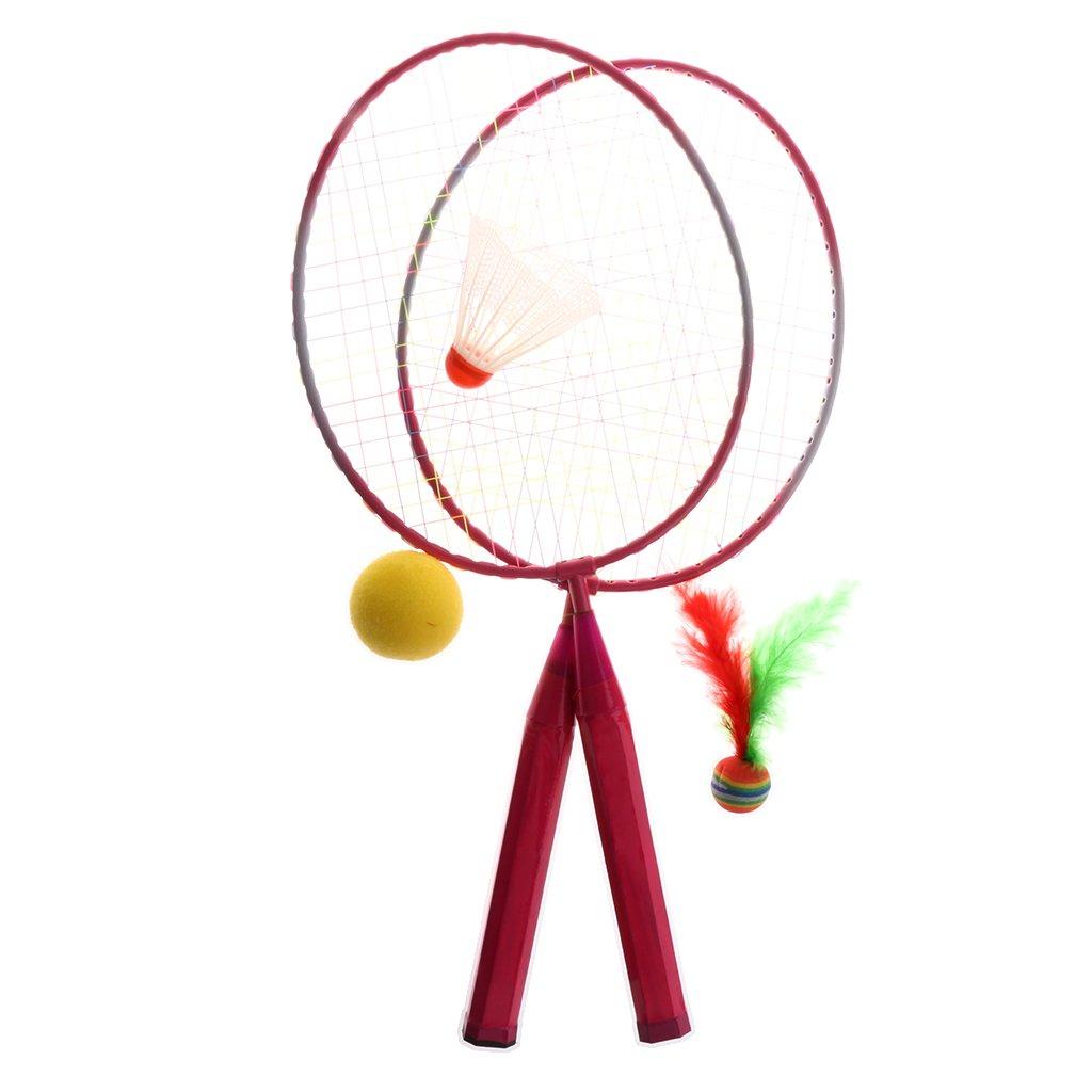 Sharplace Doppio Racchetta Tennis Badminton Palle in Ferrolega Giochi Esterno Mare Aperto Giocattolo Bambino Accessori - Blu