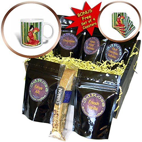 3dRose Ethnic - Geisha Girl with Stripped Background and Umbrella Fan - Coffee Gift Baskets - Coffee Gift Basket (cgb_265979_1)