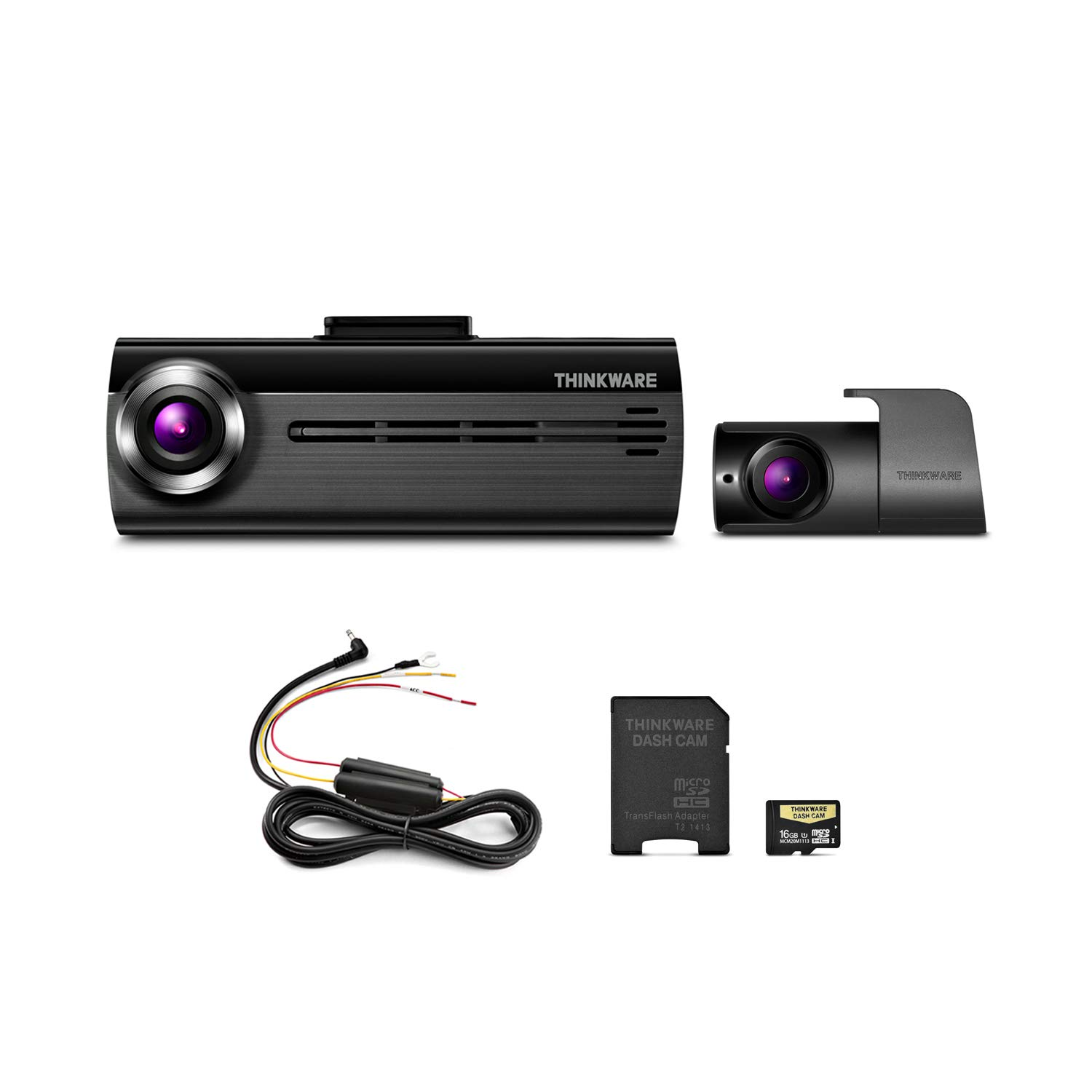 THINKWARE FA200 Dash Cam Bundle with Front & Rear Cam, Hardwiring Cable, 16GB MicroSD Card Included, Built-in WiFi