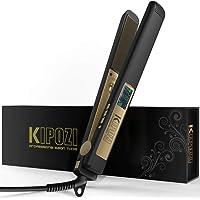 KIPOZI Piastra Per Capelli Digitale LCD, Rivestimento in Titanio Anti-crespo con Doppia Tensione (Nero opaco)
