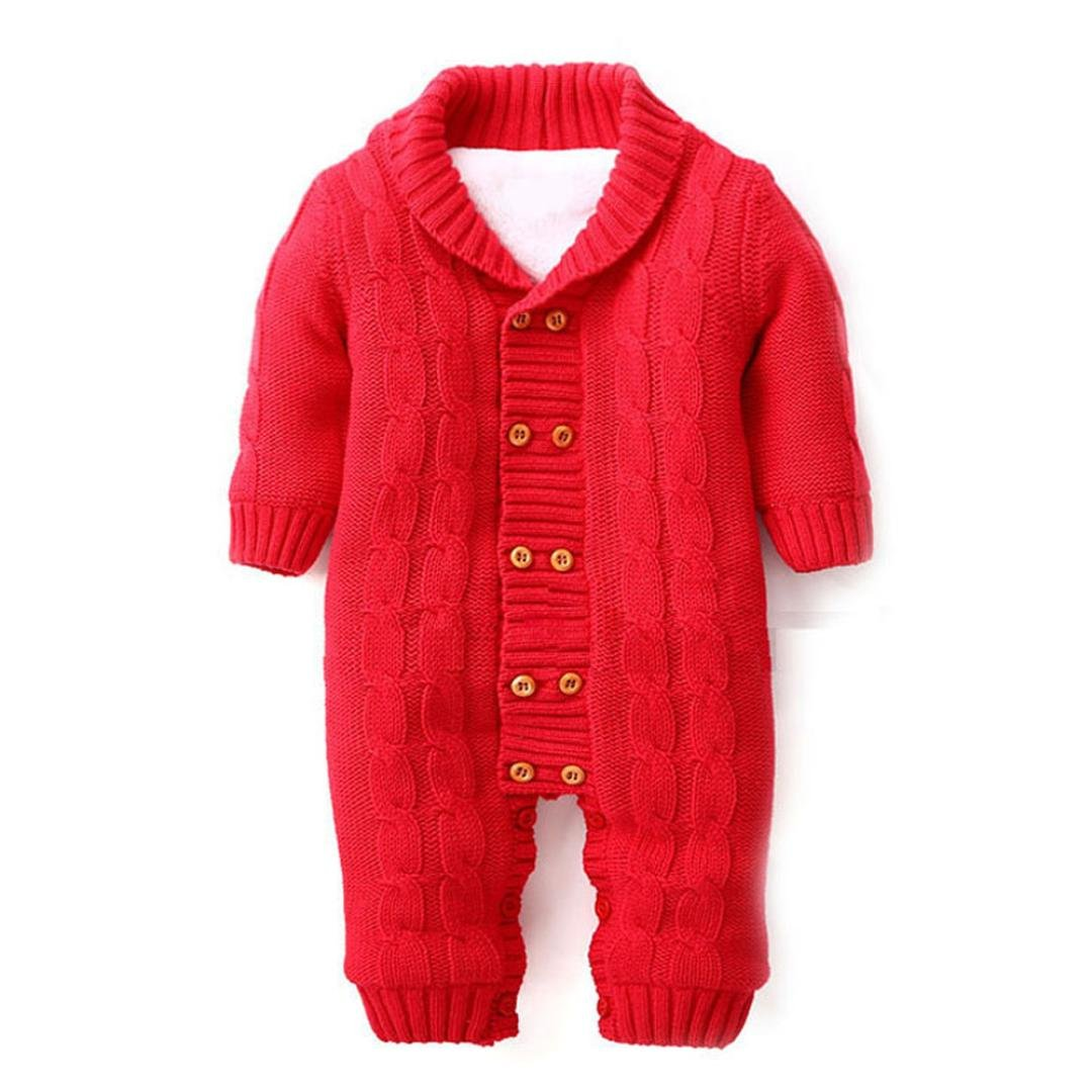 Memela TM Unisex Baby Knitted Sweater Jumpsuit Warm 0-18mos