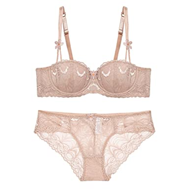 34ae831eaef Varsbaby Women Sexy Embroidery Half Cup Thin Cup Bra with Lace ...