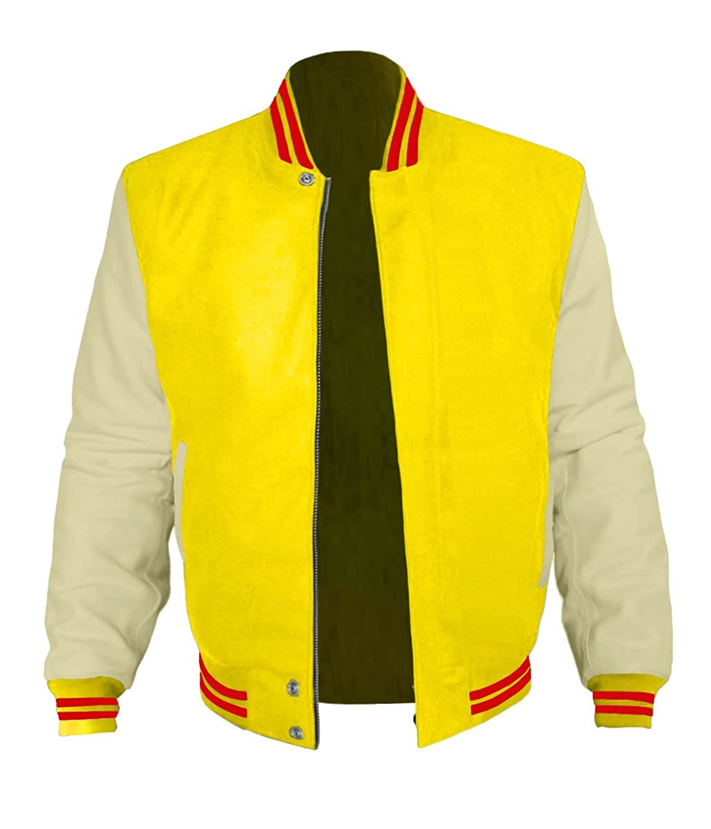 Original American Varsity Cream Leather Sleeve Letterman College Baseball Kid Wool Jackets #CRS-RS-BZ
