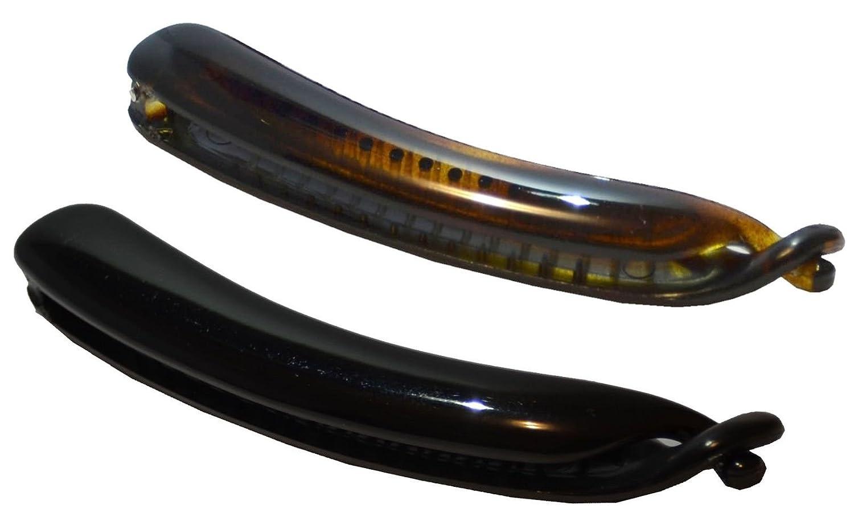 Parcelona French Flat Fish Extra Large Shell /& Black Set of 2 Banana Hair Clips