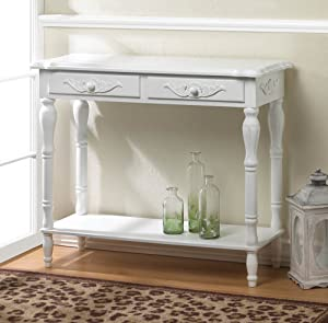 Elegant Carved White Console Table French Country Distressed Wood 2 Drawers