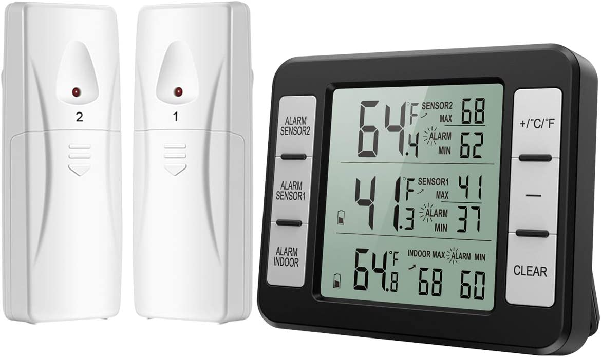 ORIA Refrigerator Thermometer, Wireless Digital Freezer Thermometer with 2 Wireless Sensors, Audible Alarm, Min and Max Record, LCD Display for Home, Restaurants, Bars, Black