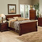 coaster queen size sleigh bed louis philippe style in mahogany