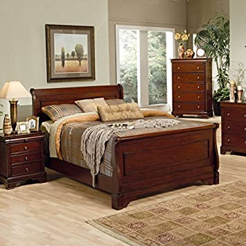 Amazon.com: Coaster Queen Size Sleigh Bed Louis Philippe Style in ...