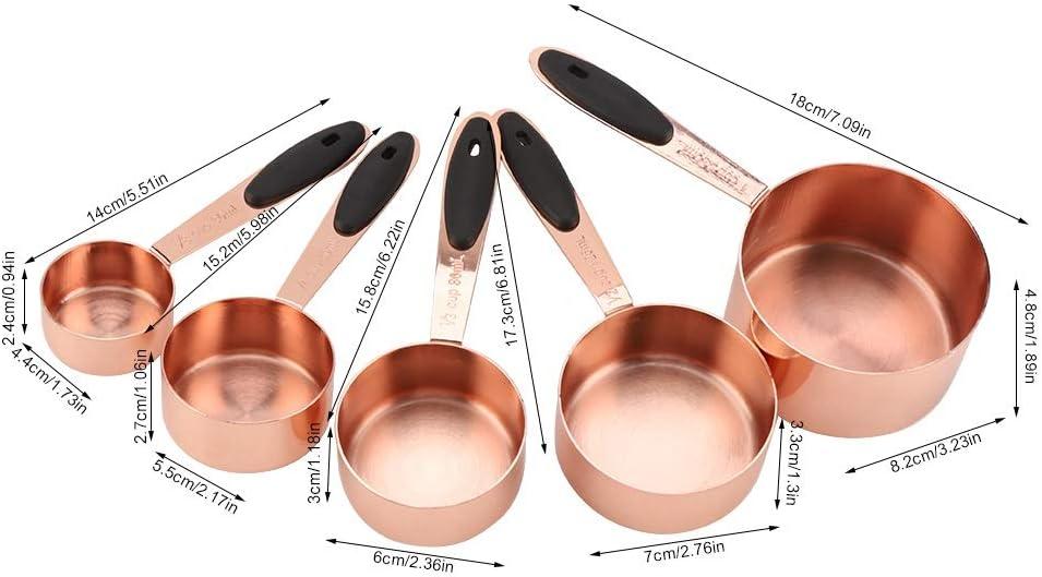 Edelstahl-Backl/öffel-Set DEWIN Messl/öffel-Set 5tlg multifunktionales K/üchen-Kochwerkzeug Messbecher
