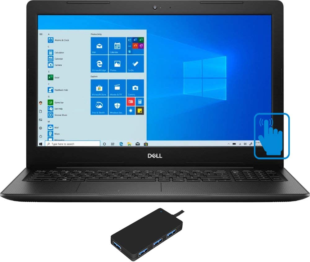 "Dell Inspiron 15 3593 Home and Business Laptop (Intel i7-1065G7 4-Core, 64GB RAM, 256GB m.2 SATA SSD + 1TB HDD, Intel Iris Plus, 15.6"" Touch Full HD (1920x1080), WiFi, Win 10 Pro) with USB Hub"