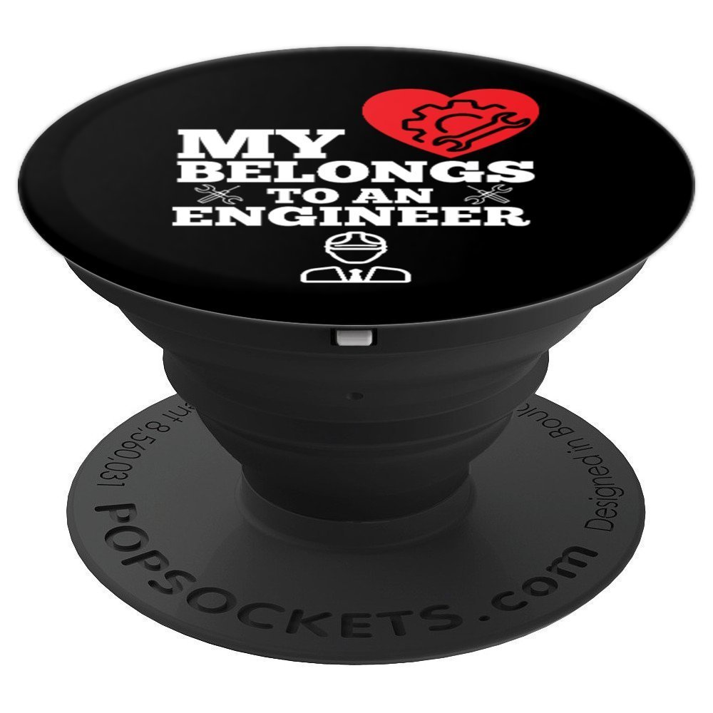 My Heart Belongs To Engineer Funny Anniversary - PopSockets Grip and Stand for Phones and Tablets by UAB KIDKIS