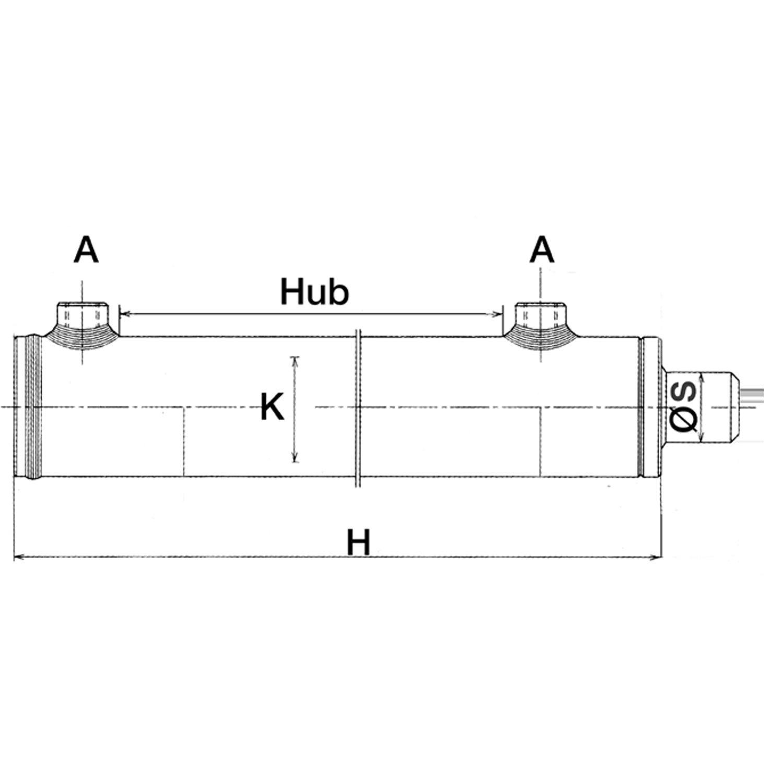 //ø de los pistones 25,35,40,50,60/mm; /ø de las varas 16,20,25,30,35,40/mm Cilindro hidr/áulico de doble direcci/ón; 99/variantes/
