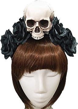 Punk - Diadema gótica de esqueleto con velo de rosa, para disfraz ...